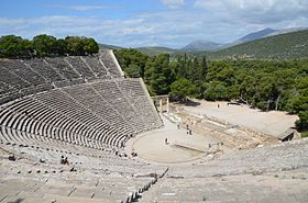 The great theater of epidaurus designed by polykleitos the younger in the 4th century bc sanctuary of asklepeios at epidaurus greece 14015010416